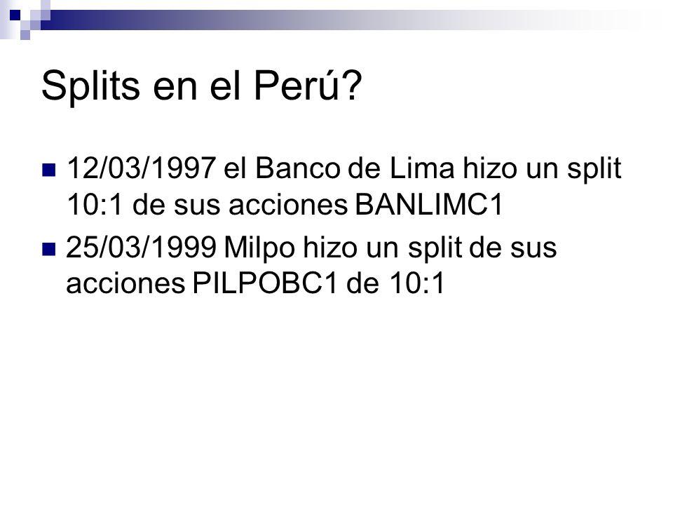 Splits en el Perú? 12/03/1997 el Banco de Lima hizo un split 10:1 de sus acciones BANLIMC1 25/03/1999 Milpo hizo un split de sus acciones PILPOBC1 de