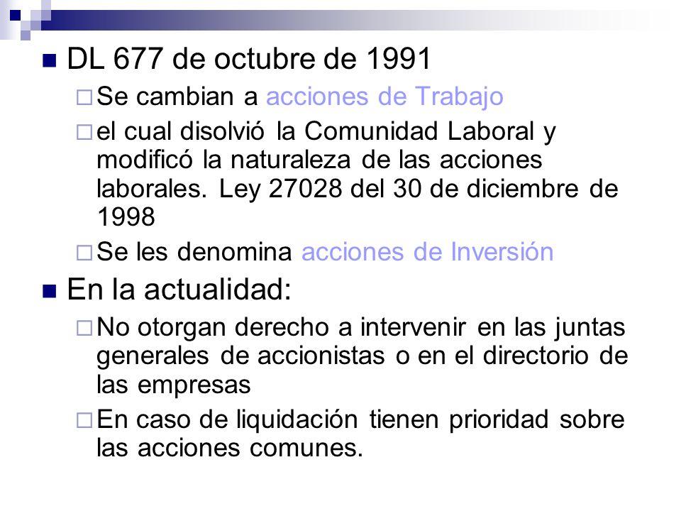 DL 677 de octubre de 1991 Se cambian a acciones de Trabajo el cual disolvió la Comunidad Laboral y modificó la naturaleza de las acciones laborales. L