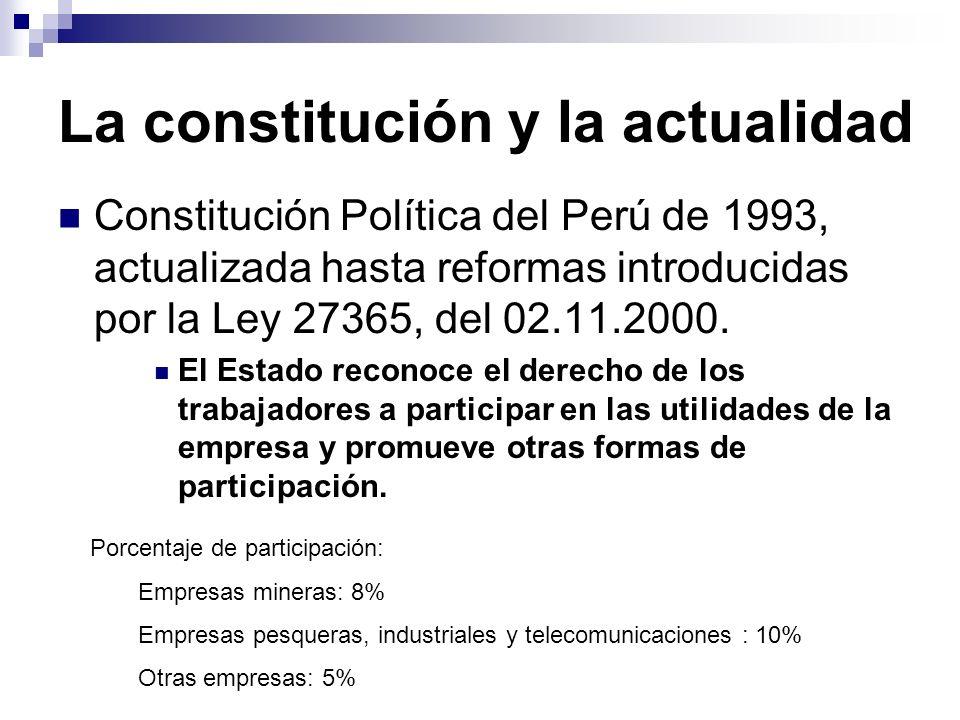 La constitución y la actualidad Constitución Política del Perú de 1993, actualizada hasta reformas introducidas por la Ley 27365, del 02.11.2000. El E