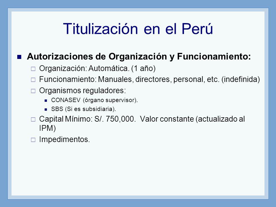 Titulización en el Perú Autorizaciones de Organización y Funcionamiento: Organización: Automática. (1 año) Funcionamiento: Manuales, directores, perso