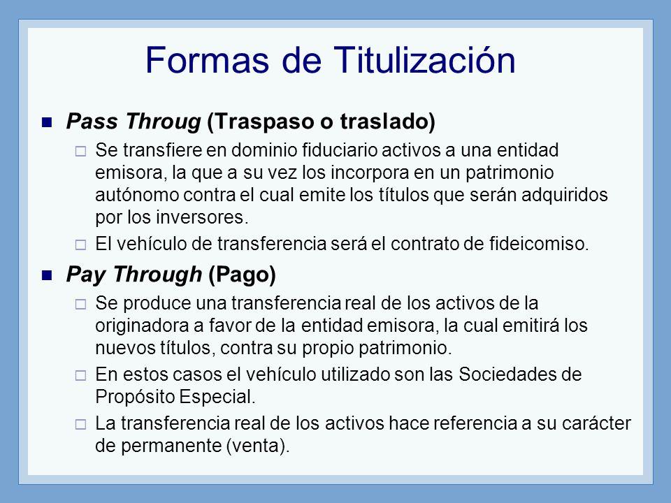 Formas de Titulización Pass Throug (Traspaso o traslado) Se transfiere en dominio fiduciario activos a una entidad emisora, la que a su vez los incorp