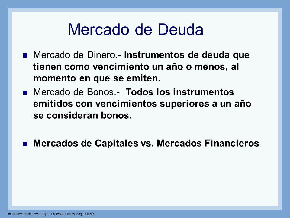 Instrumentos de Renta Fija – Profesor: Miguel Angel Martín Mercado de Deuda Mercado de Dinero.- Instrumentos de deuda que tienen como vencimiento un a