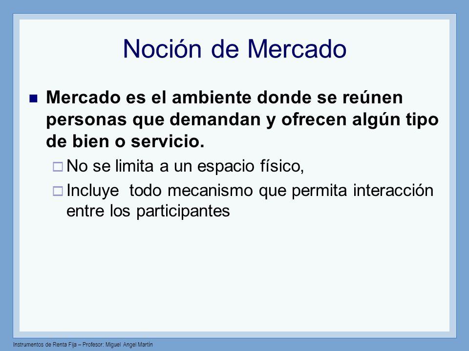 Instrumentos de Renta Fija – Profesor: Miguel Angel Martín Noción de Mercado Mercado es el ambiente donde se reúnen personas que demandan y ofrecen al