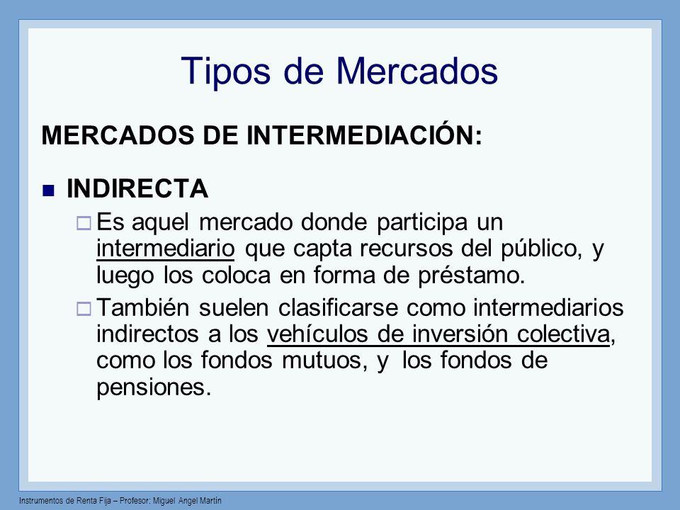 Instrumentos de Renta Fija – Profesor: Miguel Angel Martín Tipos de Mercados MERCADOS DE INTERMEDIACIÓN: INDIRECTA Es aquel mercado donde participa un
