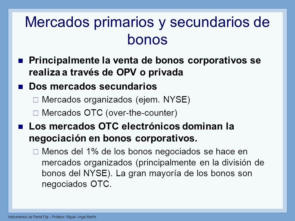 Instrumentos de Renta Fija – Profesor: Miguel Angel Martín Mercados primarios y secundarios de bonos Principalmente la venta de bonos corporativos se