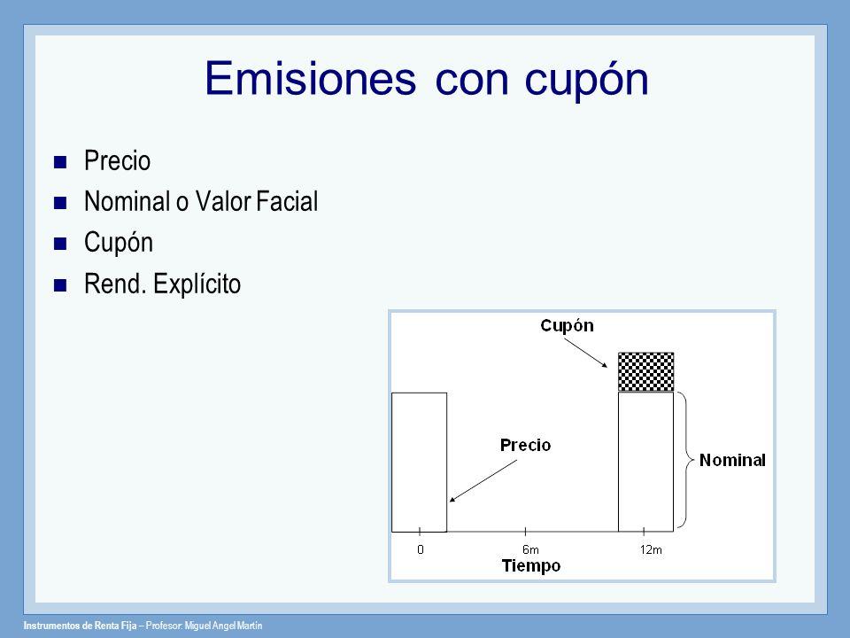 Instrumentos de Renta Fija – Profesor: Miguel Angel Martín Emisiones con cupón Precio Nominal o Valor Facial Cupón Rend. Explícito