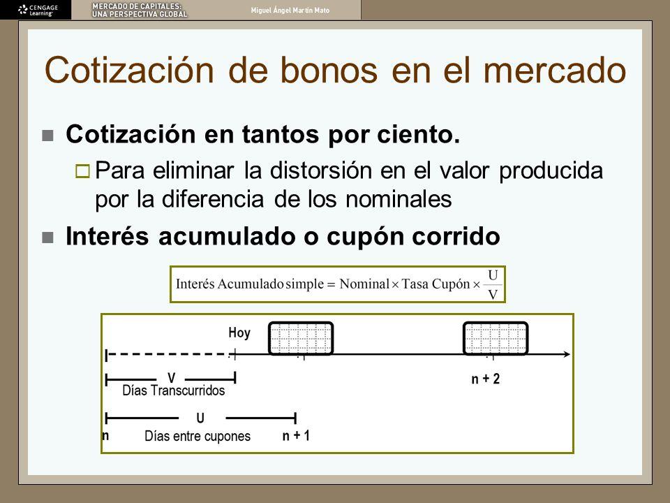 Cotización de bonos en el mercado Cotización en tantos por ciento. Para eliminar la distorsión en el valor producida por la diferencia de los nominale