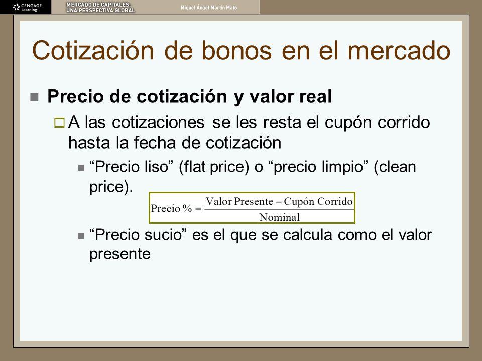 Cotización de bonos en el mercado Precio de cotización y valor real A las cotizaciones se les resta el cupón corrido hasta la fecha de cotización Prec