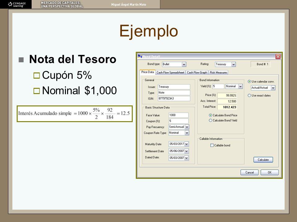 Ejemplo Nota del Tesoro Cupón 5% Nominal $1,000