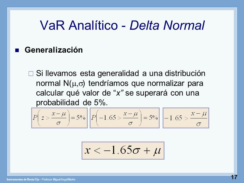 Instrumentos de Renta Fija – Profesor: Miguel Angel Martín 17 VaR Analítico - Delta Normal Generalización Si llevamos esta generalidad a una distribuc