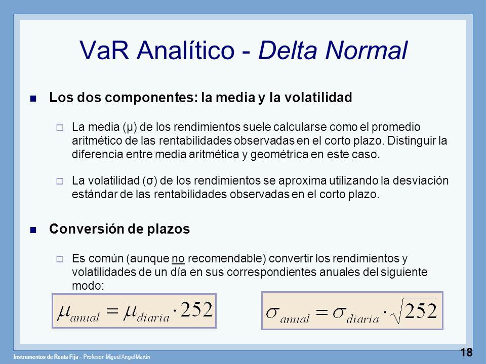Instrumentos de Renta Fija – Profesor: Miguel Angel Martín 18 VaR Analítico - Delta Normal Los dos componentes: la media y la volatilidad La media (μ)