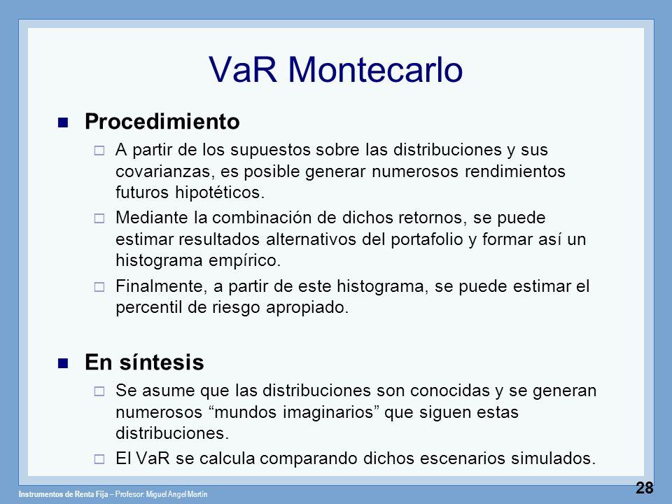 Instrumentos de Renta Fija – Profesor: Miguel Angel Martín 28 VaR Montecarlo Procedimiento A partir de los supuestos sobre las distribuciones y sus co