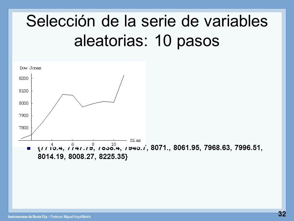 Instrumentos de Renta Fija – Profesor: Miguel Angel Martín 32 Selección de la serie de variables aleatorias: 10 pasos {7715.4, 7747.79, 7838.4, 7945.7