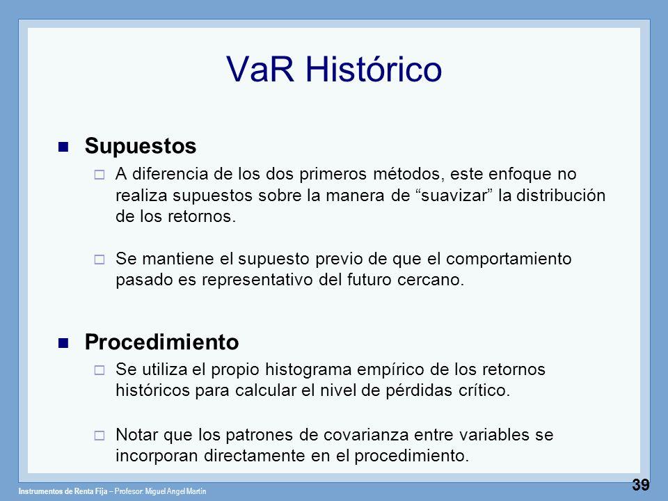 Instrumentos de Renta Fija – Profesor: Miguel Angel Martín 39 VaR Histórico Supuestos A diferencia de los dos primeros métodos, este enfoque no realiz