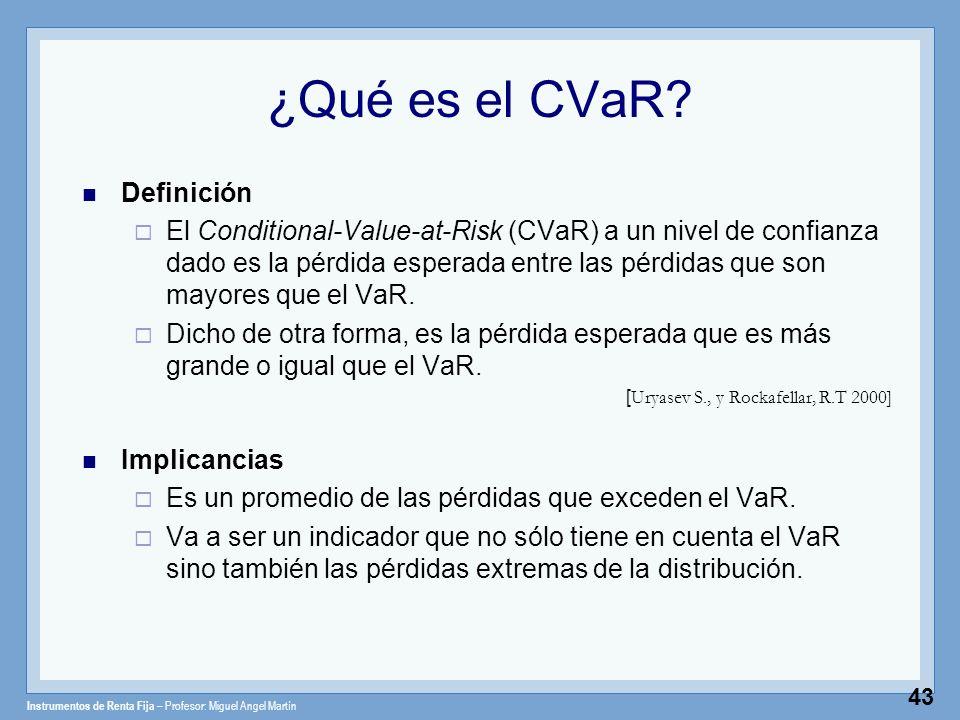 Instrumentos de Renta Fija – Profesor: Miguel Angel Martín 43 ¿Qué es el CVaR? Definición El Conditional-Value-at-Risk (CVaR) a un nivel de confianza