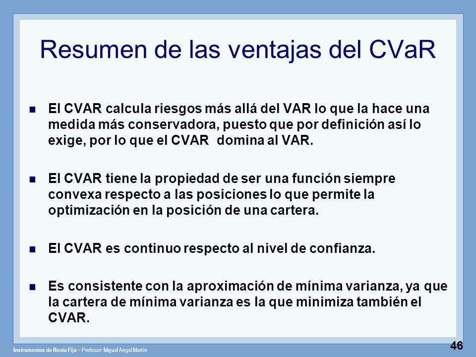 Instrumentos de Renta Fija – Profesor: Miguel Angel Martín 46 Resumen de las ventajas del CVaR El CVAR calcula riesgos más allá del VAR lo que la hace