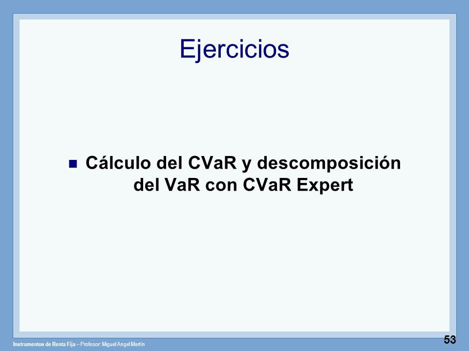 Instrumentos de Renta Fija – Profesor: Miguel Angel Martín 53 Ejercicios Cálculo del CVaR y descomposición del VaR con CVaR Expert