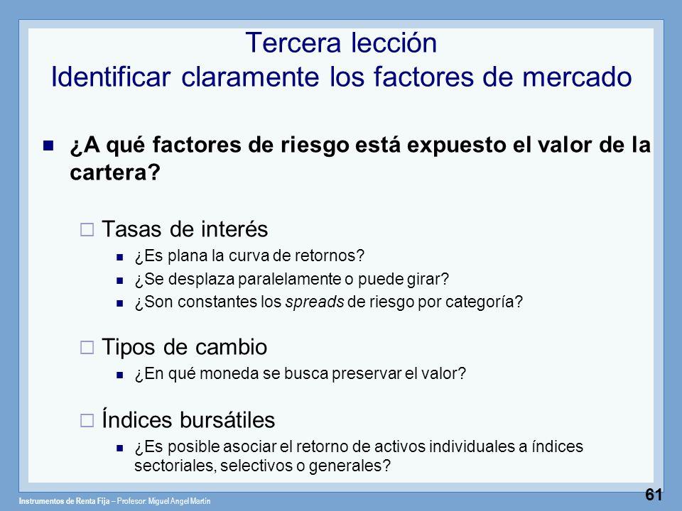 Instrumentos de Renta Fija – Profesor: Miguel Angel Martín 61 Tercera lección Identificar claramente los factores de mercado ¿A qué factores de riesgo