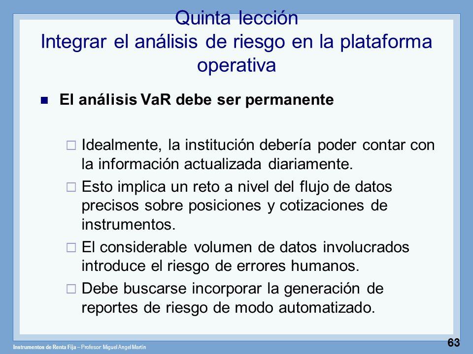 Instrumentos de Renta Fija – Profesor: Miguel Angel Martín 63 Quinta lección Integrar el análisis de riesgo en la plataforma operativa El análisis VaR