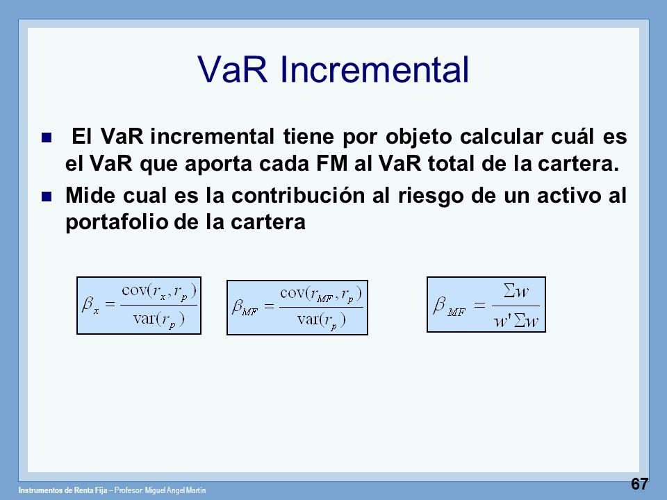 Instrumentos de Renta Fija – Profesor: Miguel Angel Martín 67 VaR Incremental El VaR incremental tiene por objeto calcular cuál es el VaR que aporta c