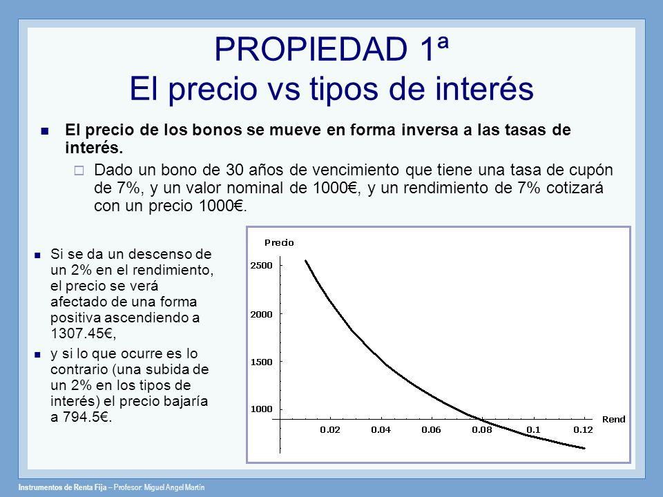 Instrumentos de Renta Fija – Profesor: Miguel Angel Martín PROPIEDAD 2ª El tiempo a vencimiento Un bono con un vencimiento más lejano experimentará un mayor cambio en porcentaje en el precio que un bono con un vencimiento más corto, para cualquier variación en los tipos de interés.