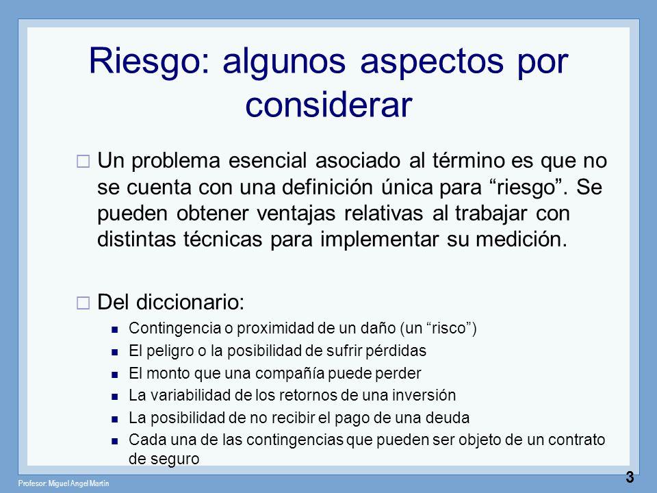 Profesor: Miguel Angel Martín 3 Riesgo: algunos aspectos por considerar Un problema esencial asociado al término es que no se cuenta con una definició