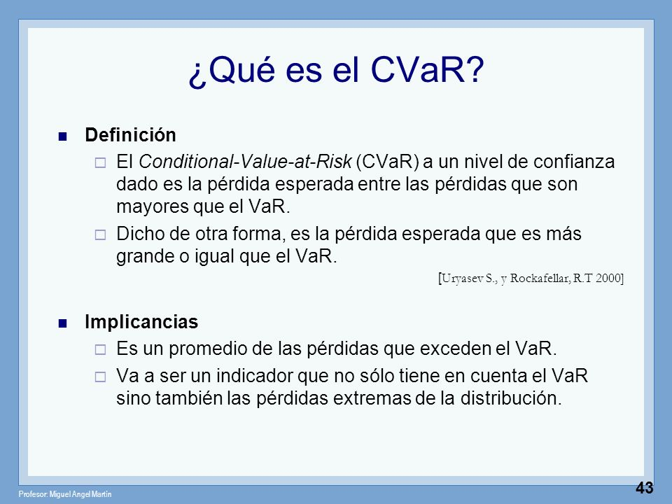 Profesor: Miguel Angel Martín 43 ¿Qué es el CVaR? Definición El Conditional-Value-at-Risk (CVaR) a un nivel de confianza dado es la pérdida esperada e