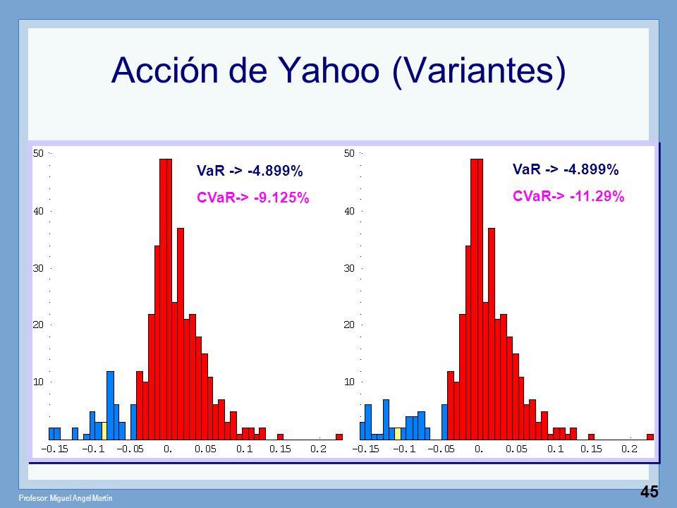 Profesor: Miguel Angel Martín 45 VaR -> -4.899% CVaR-> -9.125% VaR -> -4.899% CVaR-> -11.29% Acción de Yahoo (Variantes)