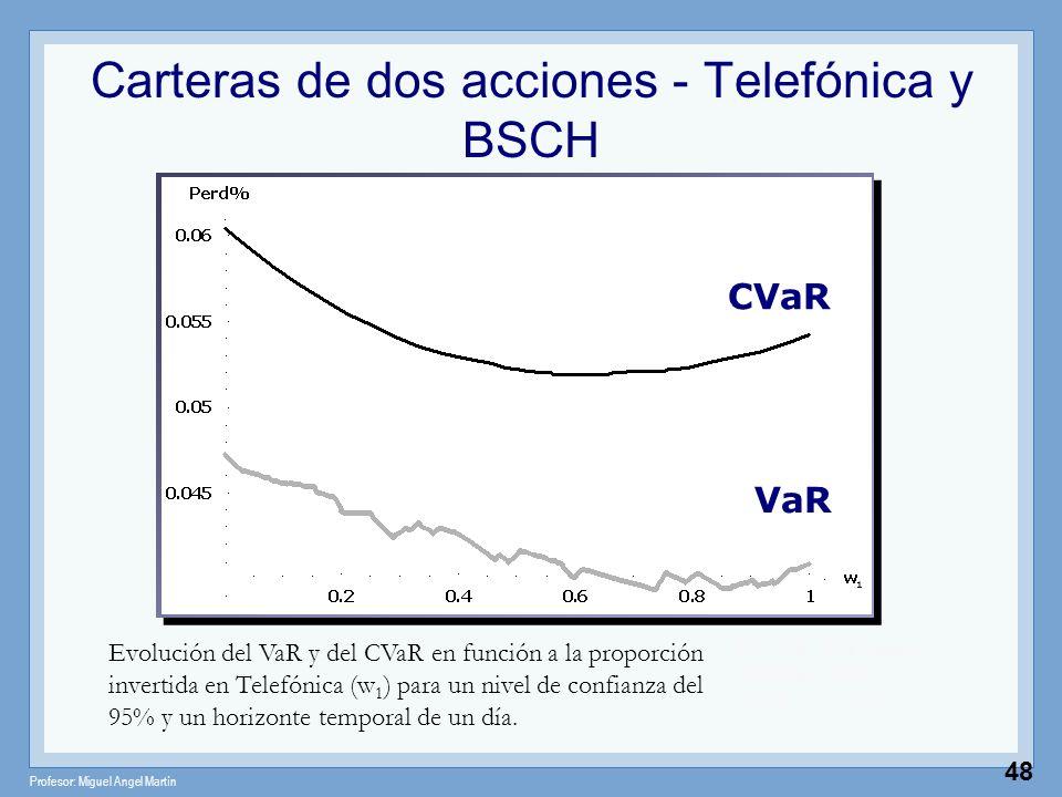 Profesor: Miguel Angel Martín 48 Carteras de dos acciones - Telefónica y BSCH Valor del portafolio Evolución del VaR y del CVaR en función a la propor