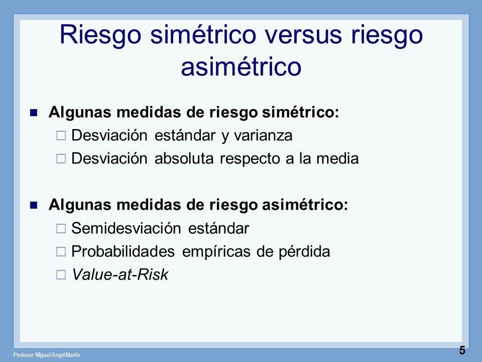 Profesor: Miguel Angel Martín 5 Riesgo simétrico versus riesgo asimétrico Algunas medidas de riesgo simétrico: Desviación estándar y varianza Desviaci