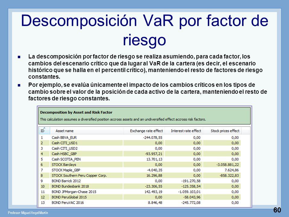 Profesor: Miguel Angel Martín 60 Descomposición VaR por factor de riesgo La descomposición por factor de riesgo se realiza asumiendo, para cada factor