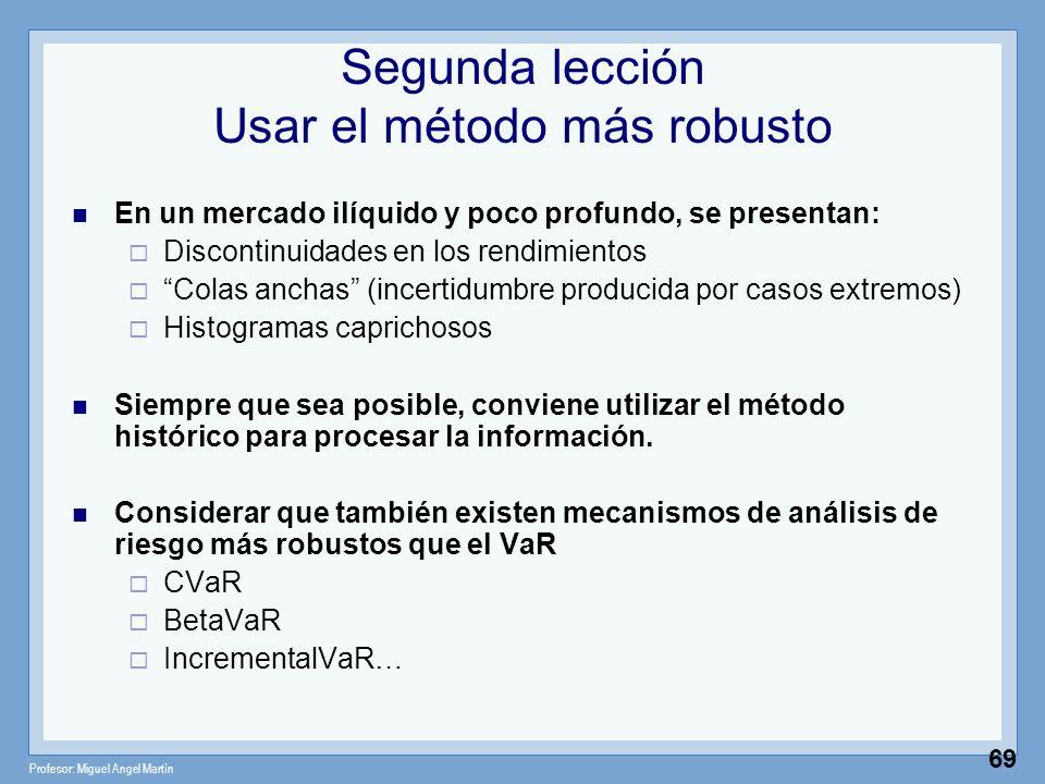 Profesor: Miguel Angel Martín 69 Segunda lección Usar el método más robusto En un mercado ilíquido y poco profundo, se presentan: Discontinuidades en