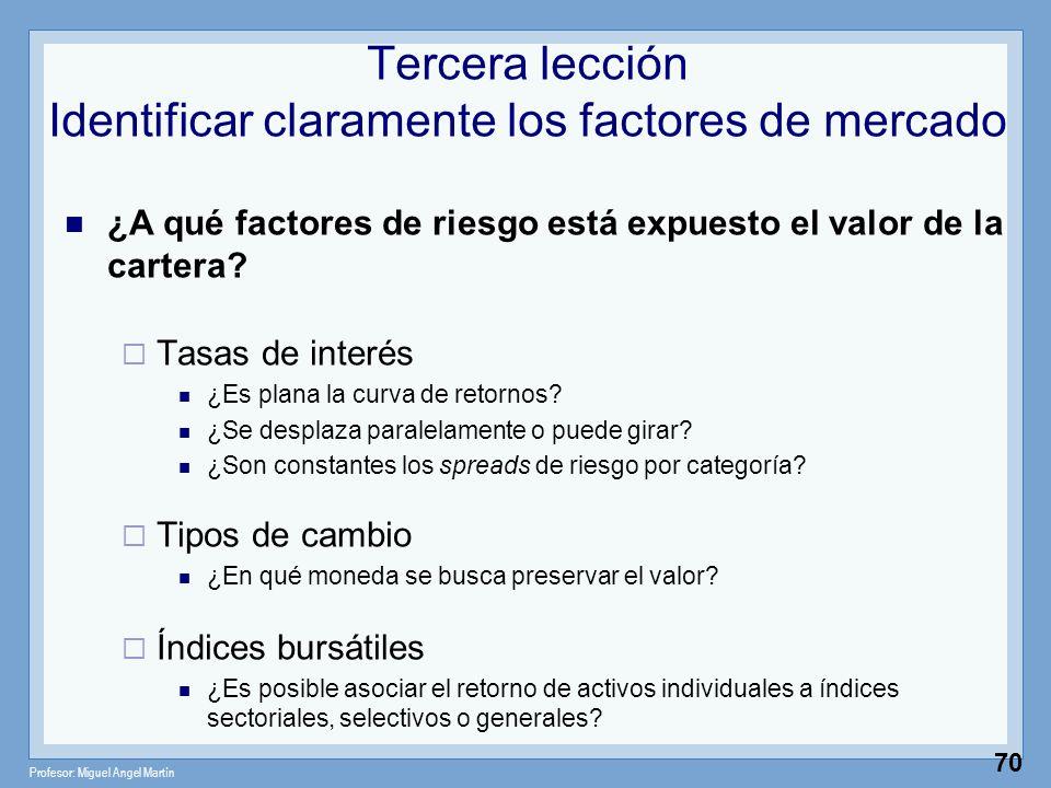 Profesor: Miguel Angel Martín 70 Tercera lección Identificar claramente los factores de mercado ¿A qué factores de riesgo está expuesto el valor de la