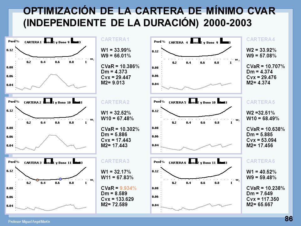 Profesor: Miguel Angel Martín 86 CARTERA 1 W1 = 33.99% W9 = 66.01% CVaR = 10.386% Dm = 4.373 Cvx = 29.447 M2= 9.013 CARTERA 2 W1 = 32.52% W10 = 67.48%