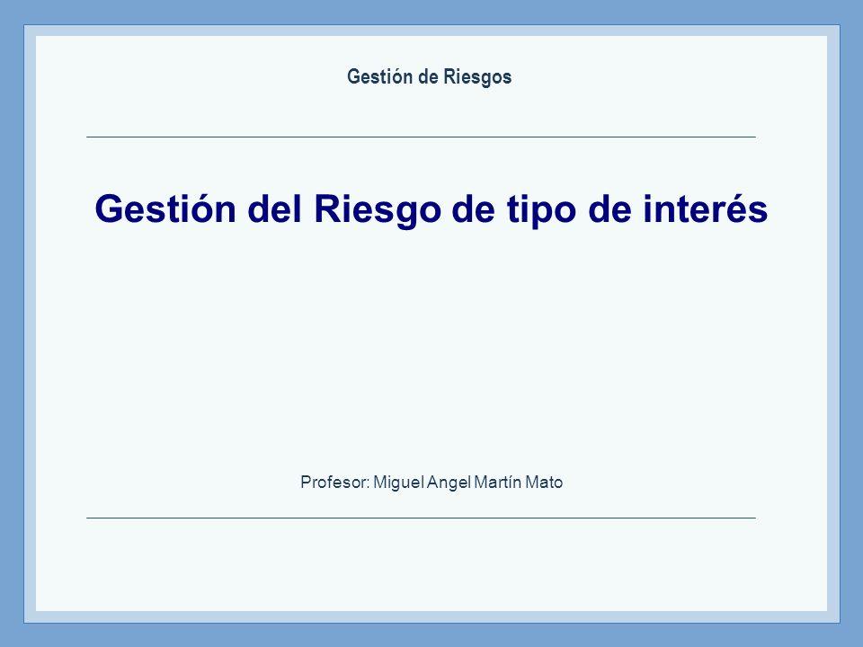 Gestión del Riesgo de tipo de interés Profesor: Miguel Angel Martín Mato Gestión de Riesgos