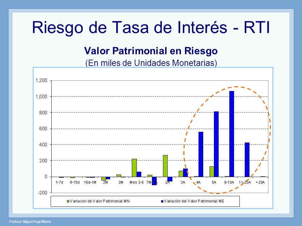 Profesor: Miguel Angel Martín Riesgo de Tasa de Interés - RTI Valor Patrimonial en Riesgo (En miles de Unidades Monetarias)