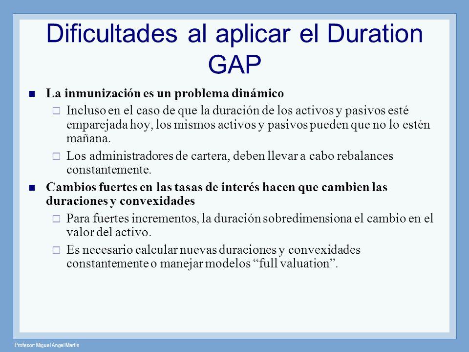Profesor: Miguel Angel Martín Dificultades al aplicar el Duration GAP La inmunización es un problema dinámico Incluso en el caso de que la duración de
