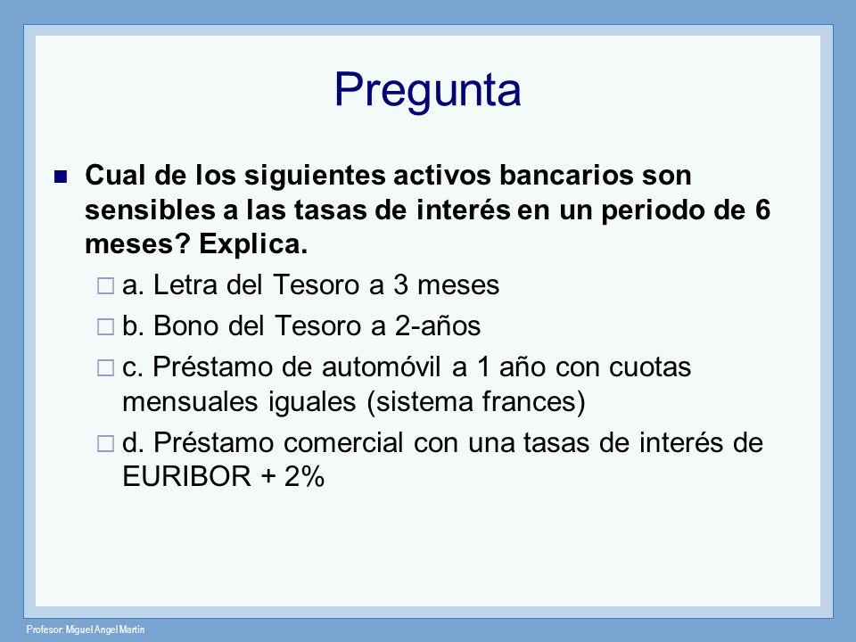 Profesor: Miguel Angel Martín Pregunta Cual de los siguientes activos bancarios son sensibles a las tasas de interés en un periodo de 6 meses? Explica