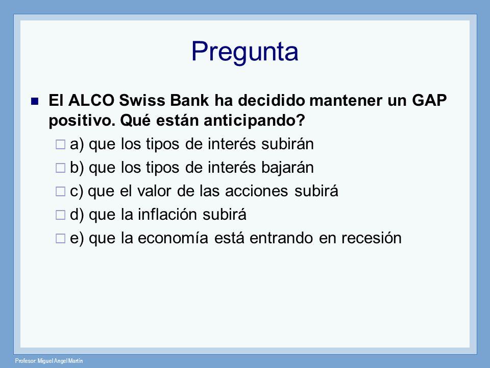 Profesor: Miguel Angel Martín Pregunta El ALCO Swiss Bank ha decidido mantener un GAP positivo. Qué están anticipando? a) que los tipos de interés sub