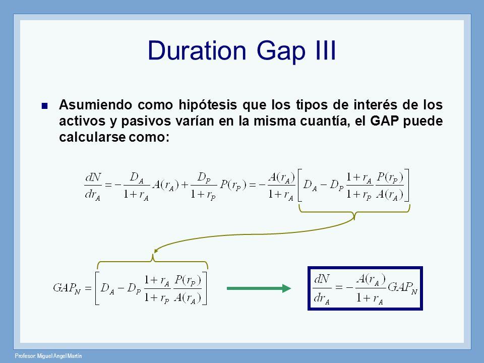 Profesor: Miguel Angel Martín Duration Gap III Asumiendo como hipótesis que los tipos de interés de los activos y pasivos varían en la misma cuantía,