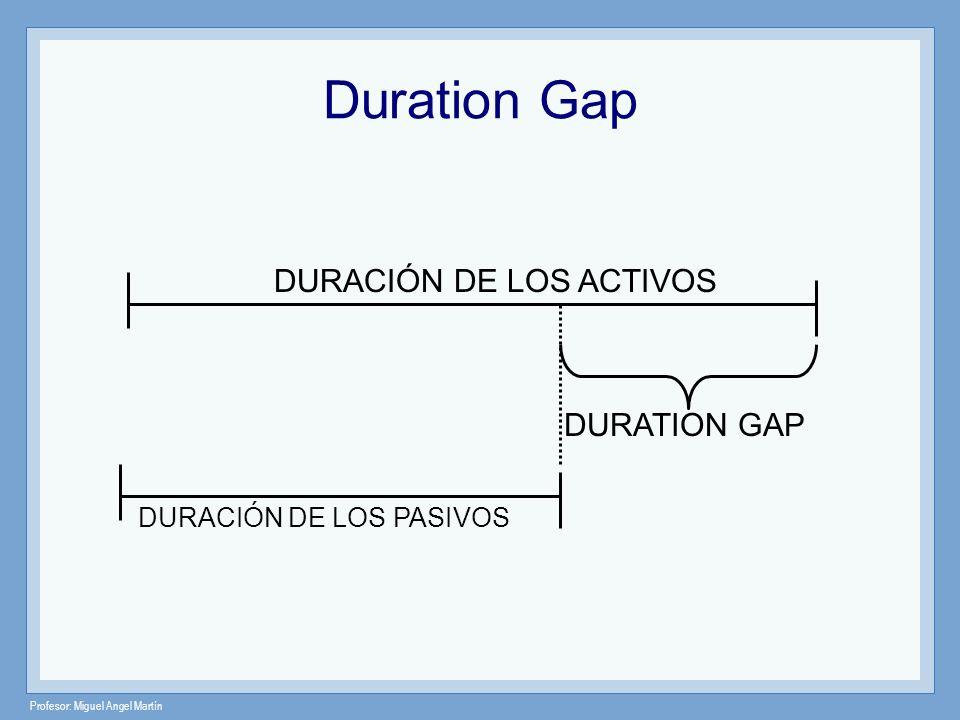 Profesor: Miguel Angel Martín Duration Gap DURACIÓN DE LOS ACTIVOS DURACIÓN DE LOS PASIVOS DURATION GAP