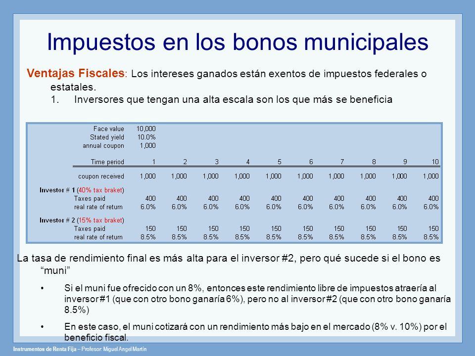 Instrumentos de Renta Fija – Profesor: Miguel Angel Martín Impuestos en los bonos municipales Ventajas Fiscales : Los intereses ganados están exentos