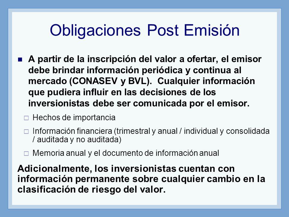 Obligaciones Post Emisión A partir de la inscripción del valor a ofertar, el emisor debe brindar información periódica y continua al mercado (CONASEV