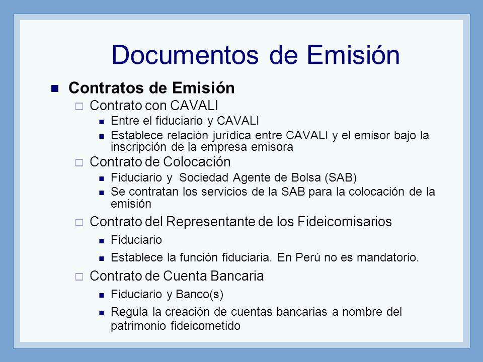 Documentos de Emisión Contratos de Emisión Contrato con CAVALI Entre el fiduciario y CAVALI Establece relación jurídica entre CAVALI y el emisor bajo
