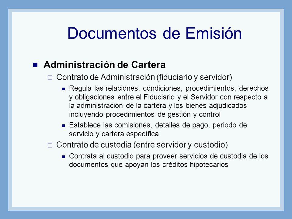 Documentos de Emisión Administración de Cartera Contrato de Administración (fiduciario y servidor) Regula las relaciones, condiciones, procedimientos,