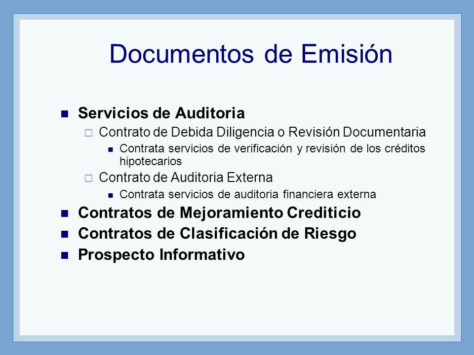 Documentos de Emisión Servicios de Auditoria Contrato de Debida Diligencia o Revisión Documentaria Contrata servicios de verificación y revisión de lo