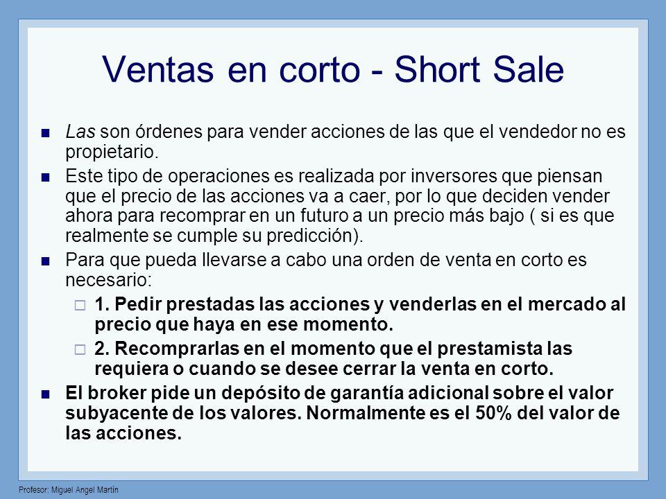 Profesor: Miguel Angel Martín Ventas en corto - Short Sale Las son órdenes para vender acciones de las que el vendedor no es propietario. Este tipo de