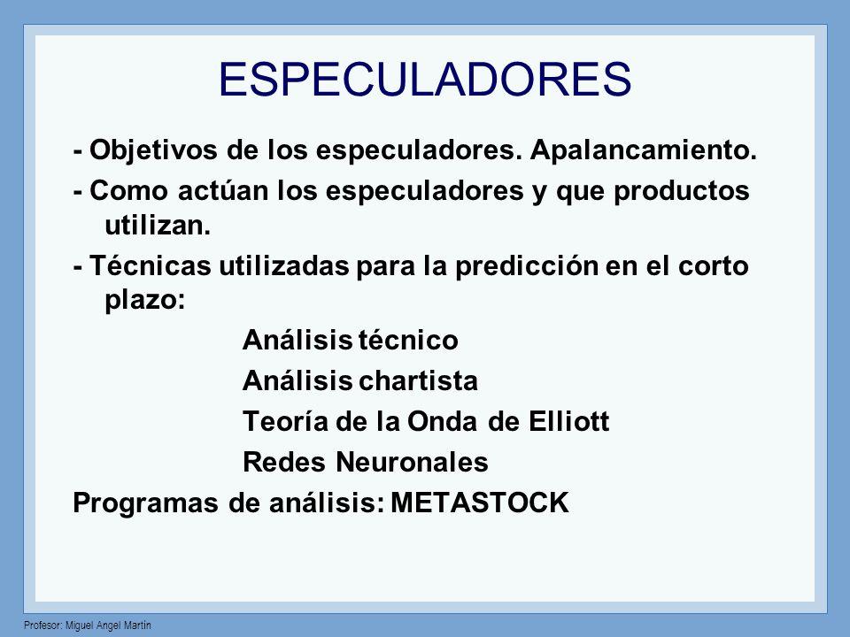 ESPECULADORES - Objetivos de los especuladores. Apalancamiento. - Como actúan los especuladores y que productos utilizan. - Técnicas utilizadas para l