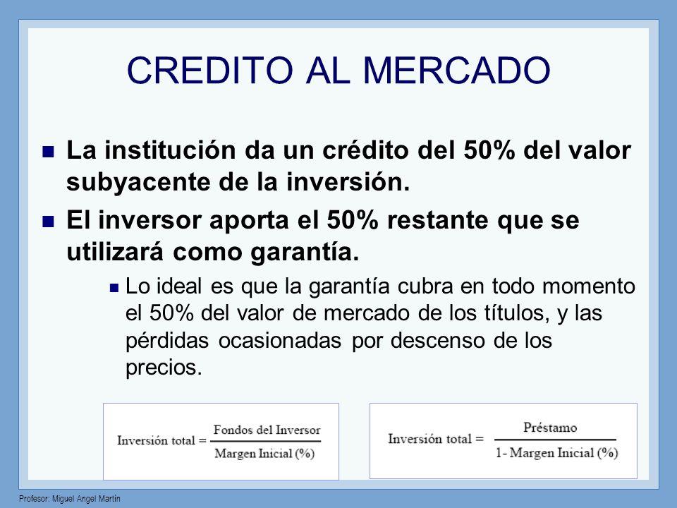 Profesor: Miguel Angel Martín CREDITO AL MERCADO La institución da un crédito del 50% del valor subyacente de la inversión. El inversor aporta el 50%
