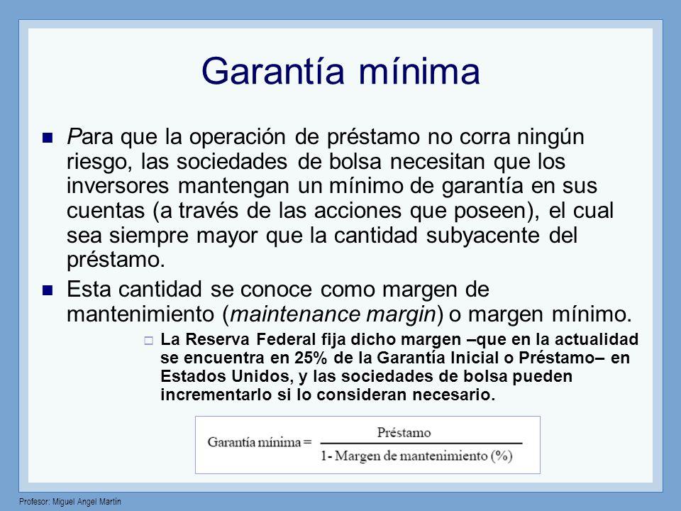 Profesor: Miguel Angel Martín Garantía mínima Para que la operación de préstamo no corra ningún riesgo, las sociedades de bolsa necesitan que los inve